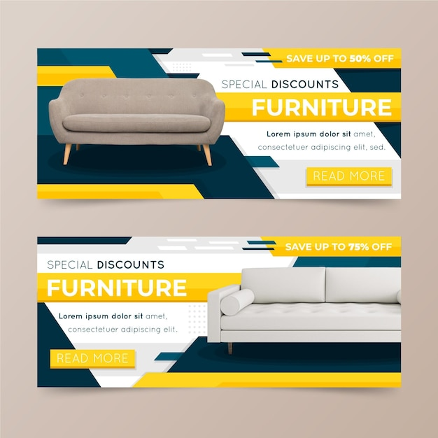 Furniture sale banners concept Free Vector