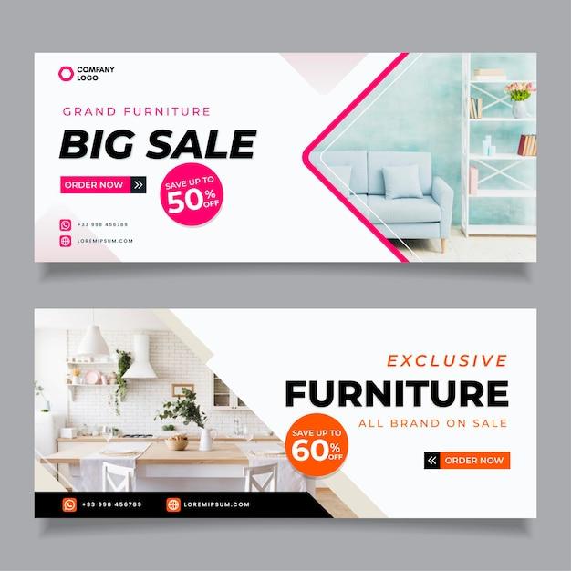 Banner di vendita di mobili con foto Vettore gratuito