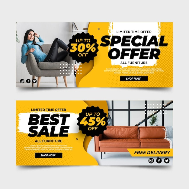 Furniture sale banners special offer Free Vector