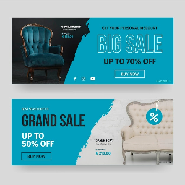 Furniture sale banners template with photo Free Vector