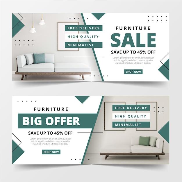 Modello di banner di vendita di mobili Vettore gratuito