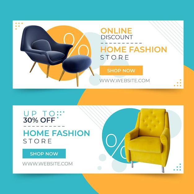 Шаблон баннеров для продажи мебели Premium векторы