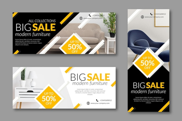 Furniture sale banners with discount Free Vector