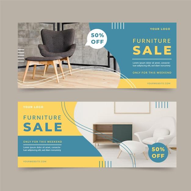 Баннеры продажи мебели со скидкой Premium векторы