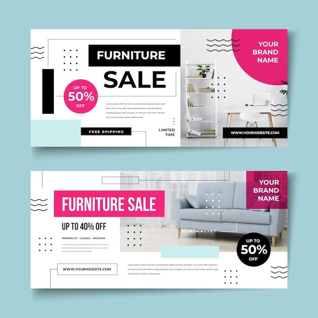Баннеры продажи мебели со скидкой Бесплатные векторы