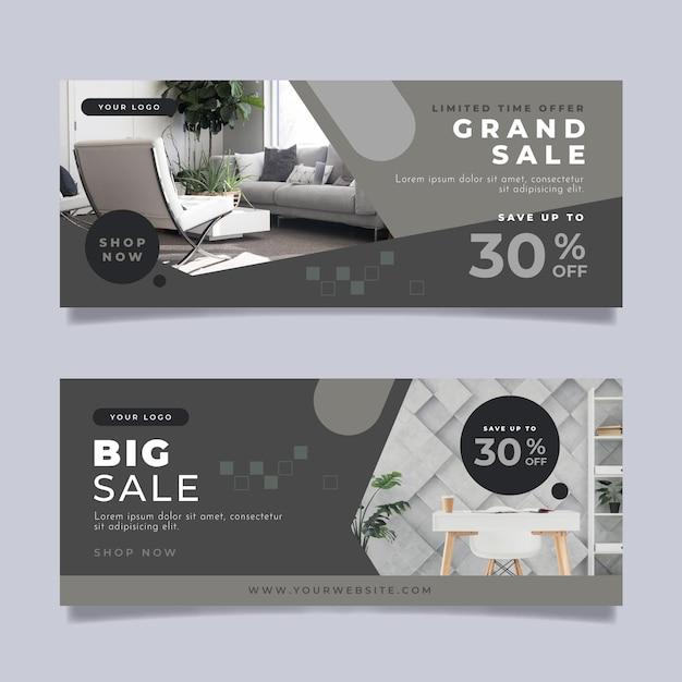 割引付き家具販売バナー Premiumベクター