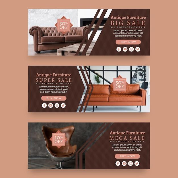 Баннеры продажи мебели с фото Premium векторы