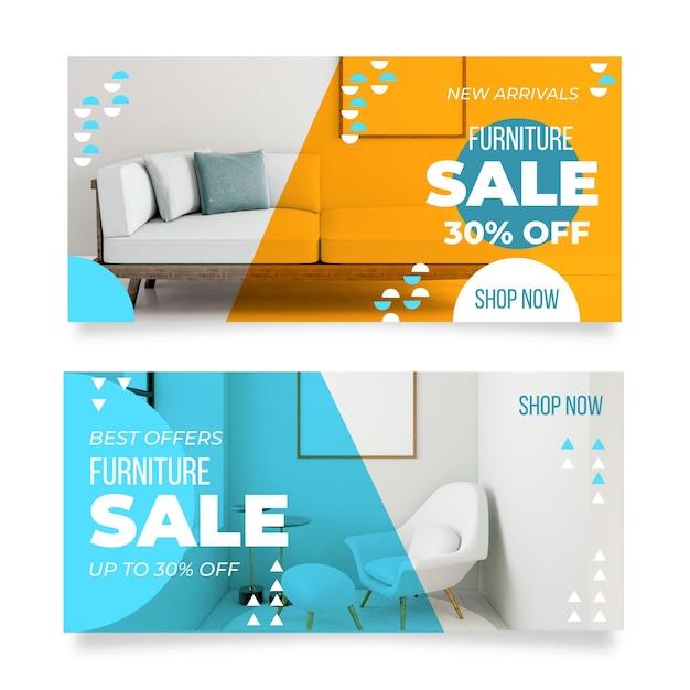 Баннеры продажи мебели Бесплатные векторы