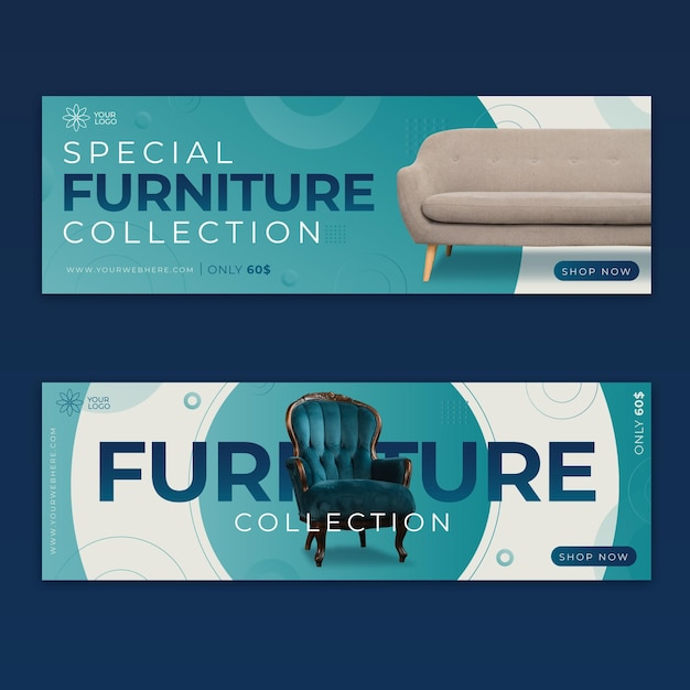 Furniture sale banners Free Vector