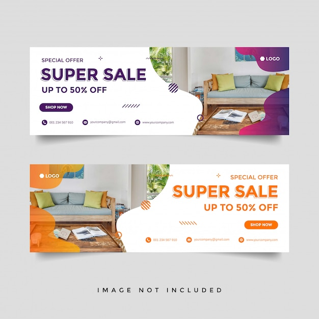 Furniture sale facebook cover banner ad template Premium Vector