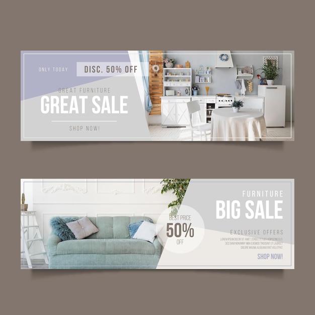 特別割引の家具販売水平バナーテンプレート Premiumベクター