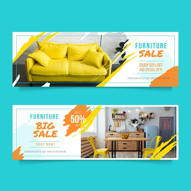 Furniture sale horizontal banners template Free Vector