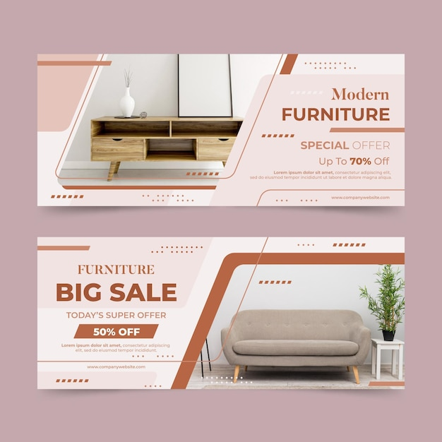 Furniture sale horizontal banners with photo Free Vector