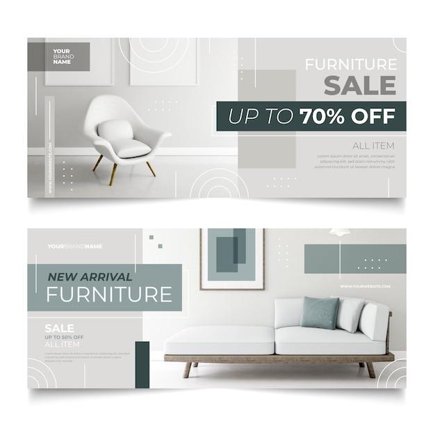 特別割引の家具販売の横型バナー Premiumベクター