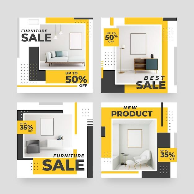 Vendita di mobili ig post collezione con foto Vettore gratuito