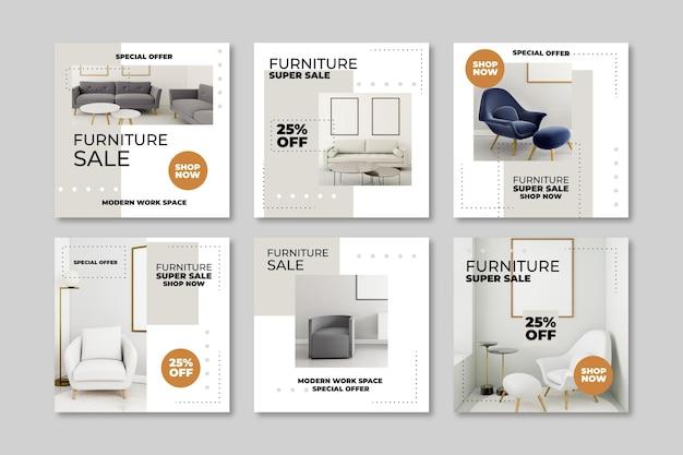 Vendita di mobili ig collezione di post con foto Vettore gratuito