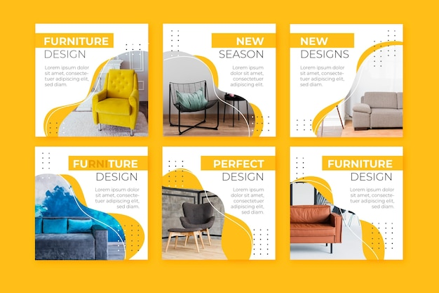 Furniture sale ig post collection Free Vector