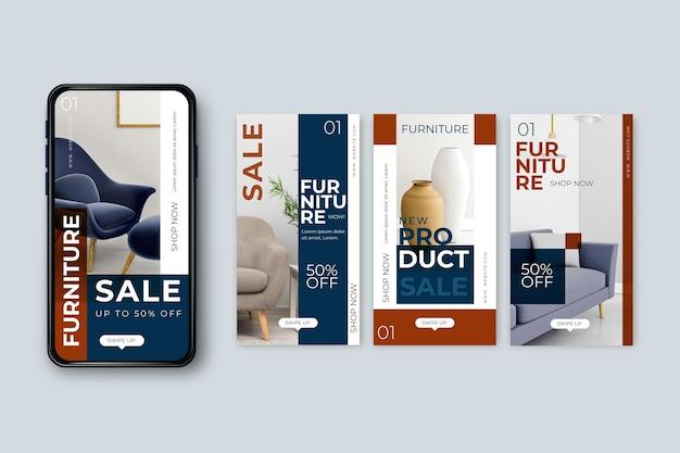 Furniture sale ig post collection Premium Vector