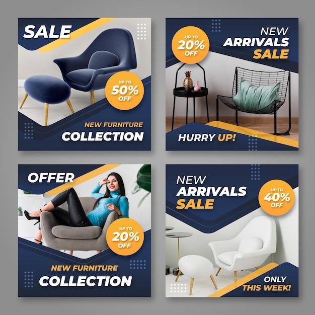 Продажа мебели ig post collection Бесплатные векторы