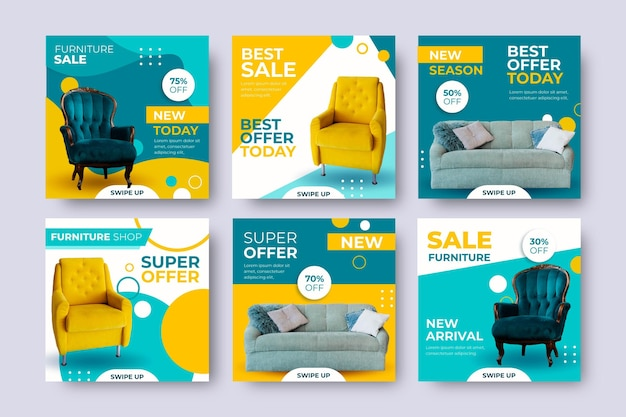 Furniture sale ig post set with image Free Vector