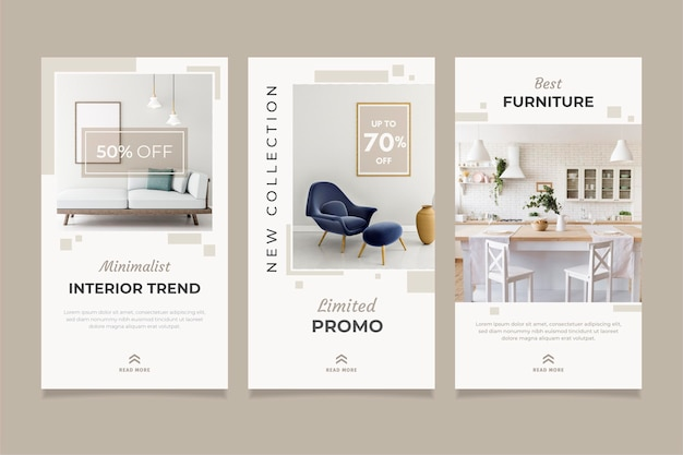 Furniture sale ig stories collection with image Premium Vector