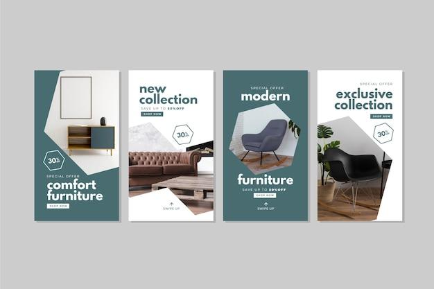 Vendita di mobili ig stories con foto Vettore gratuito