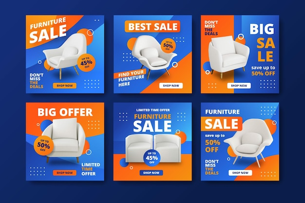 Furniture sale instagram post collection Free Vector