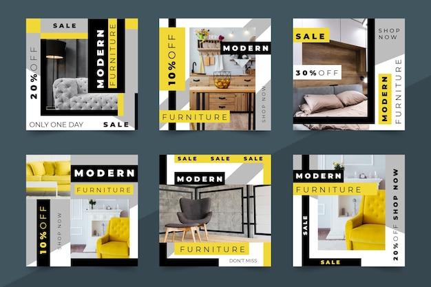 Collezione di post di instagram di vendita di mobili Vettore gratuito