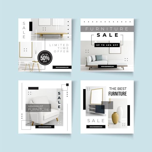 Furniture sale instagram post collection Premium Vector