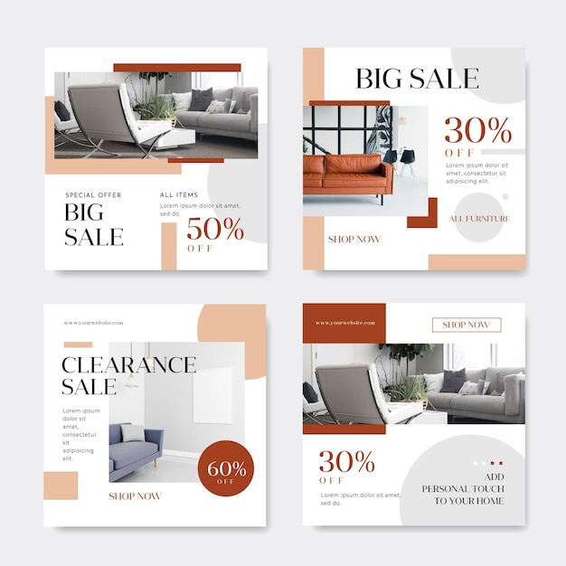 Furniture sale instagram post collection Premium Vector