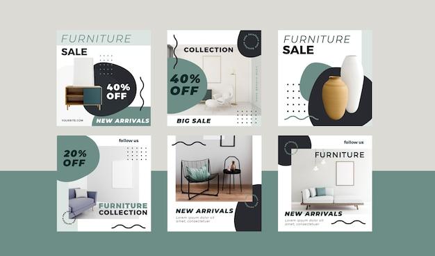 Set di post di instagram di vendita di mobili Vettore gratuito