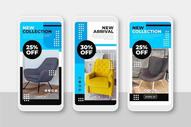 Коллекция рассказов о продаже мебели в instagram Бесплатные векторы
