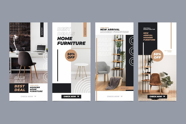 Furniture sale instagram stories collection Free Vector