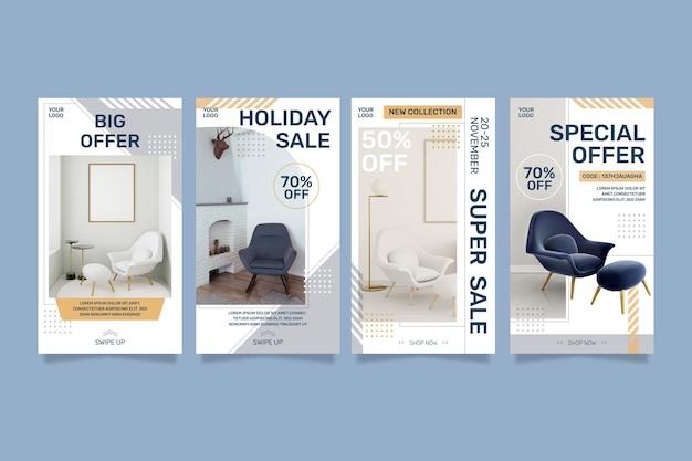 Furniture sale instagram stories Free Vector