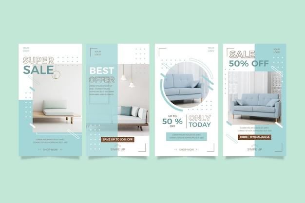 Furniture sale instagram stories Premium Vector