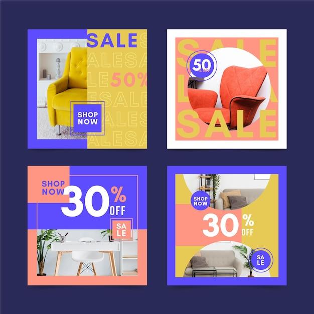 Furniture sale social media posts Premium Vector