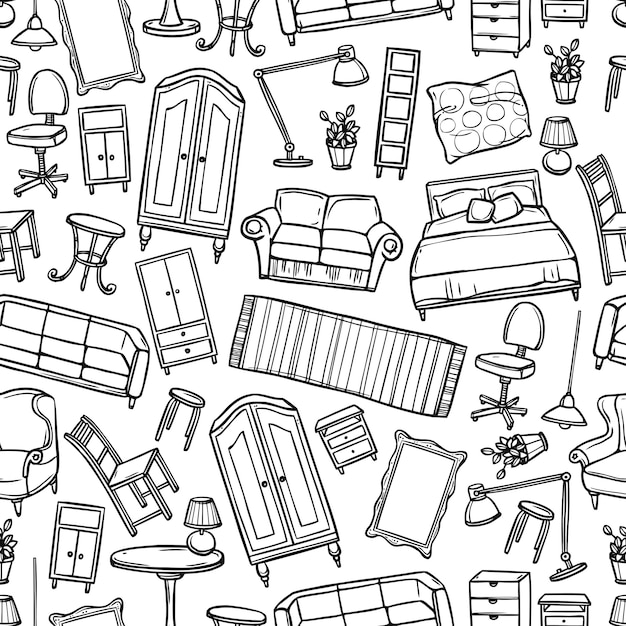 Furniture seamless pattern Free Vector