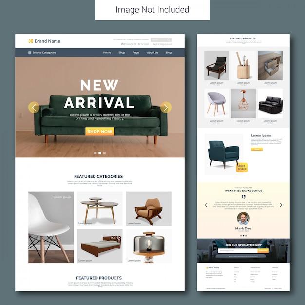 Шаблон целевой страницы продажи мебели Premium векторы