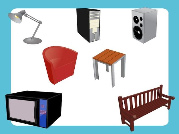 Furniture Set Appliances Interior Design Vector