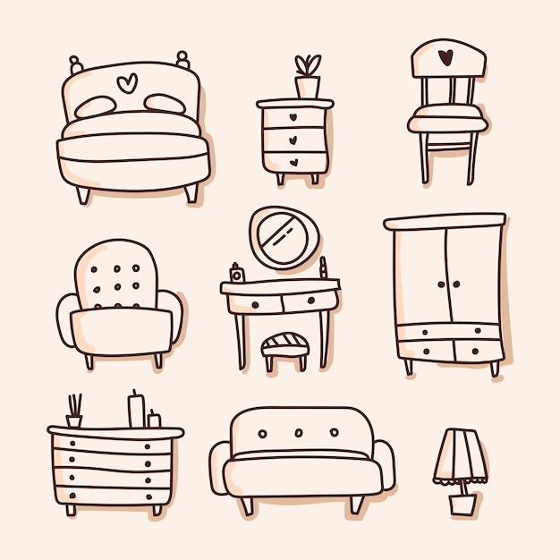 Furniture set of icon. hand draw Premium Vector