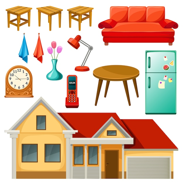 Furniture set. Free Vector
