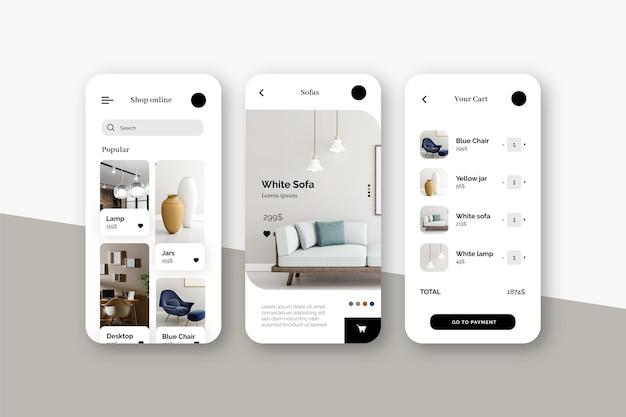 가구 쇼핑 앱 컨셉 프리미엄 벡터