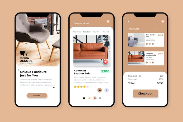 Furniture shopping app concept Free Vector