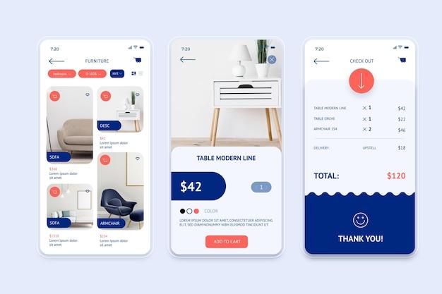 家具ショッピングアプリのコンセプト 無料ベクター