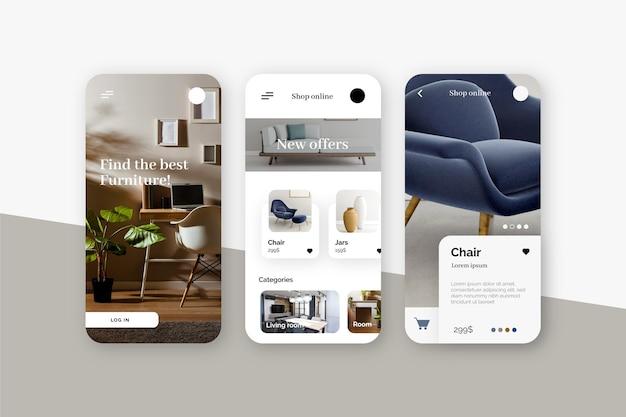 가구 쇼핑 앱 디자인 무료 벡터