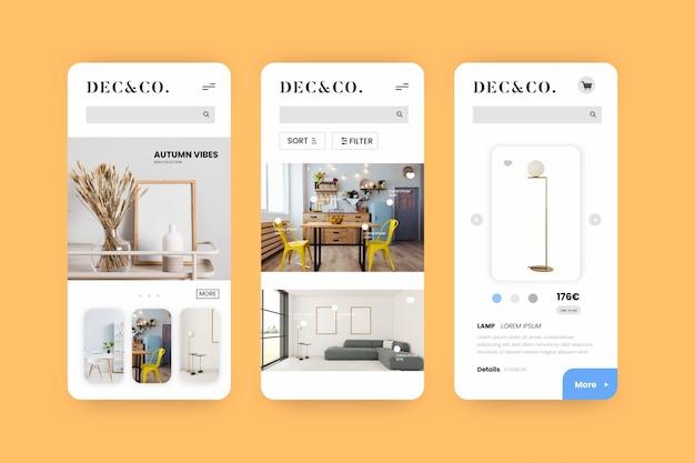 Interfaccia dell'app per lo shopping di mobili Vettore gratuito