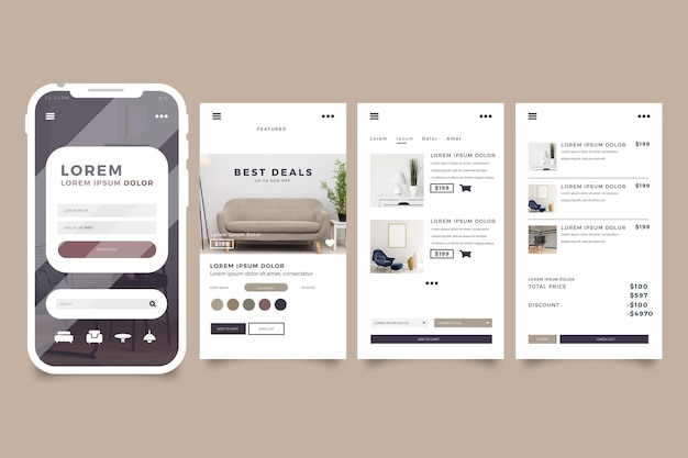 Furniture shopping app interface Free Vector