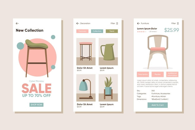 Furniture shopping app pack Free Vector
