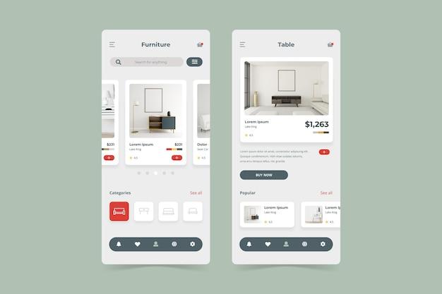 Pacchetto modello di app per lo shopping di mobili Vettore gratuito