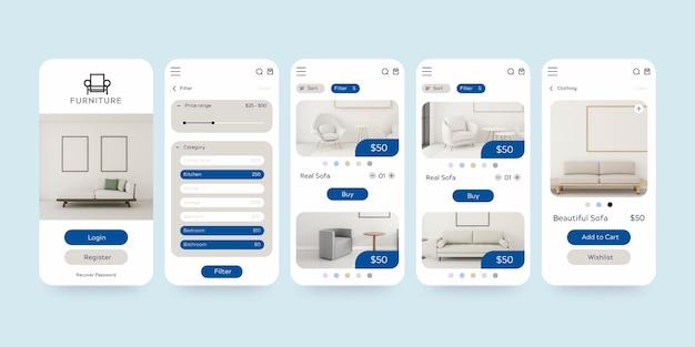 Set di modelli di app per lo shopping di mobili Vettore gratuito
